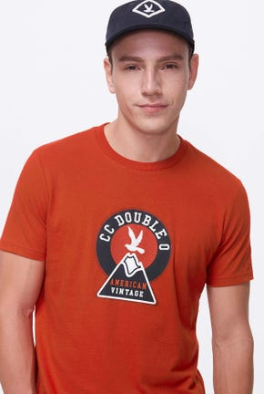 LOGO GRAPHIC TEE IN ORANGE