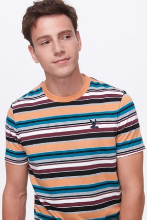 STRIPED TEE WITH BIRD LOGO DETAIL