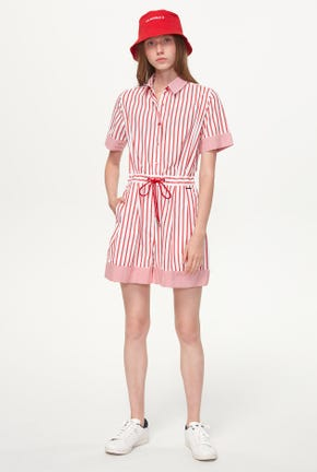 STRIPED ROMPER WITH DRAWSTRING WAIST
