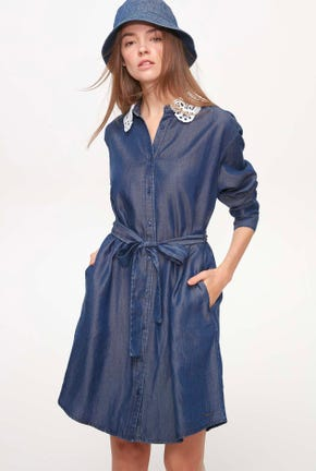 DENIM DRESS WITH CUTWORK COLLAR
