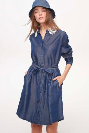DENIM DRESS WITH CUTWORK COLLAR