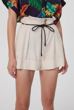 PAPERBAG WAIST SHORTS WITH ROPE BELT
