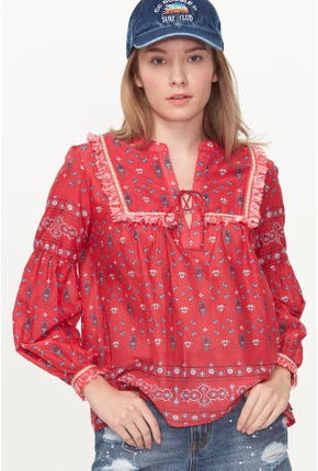 ALL-OVER GRAPHIC PRINTED BLOUSE
