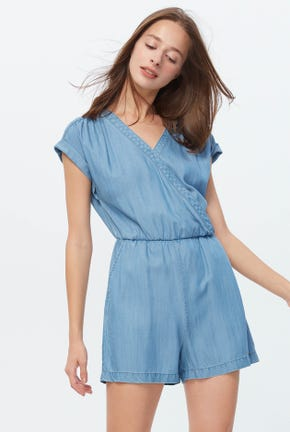 FRONT WRAP CHAMBRAY ROMPER