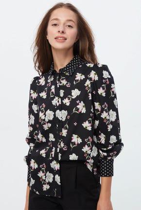 เสื้อเชิ๊ตแขนยาวลายดอกไม้ผสมลายจุด