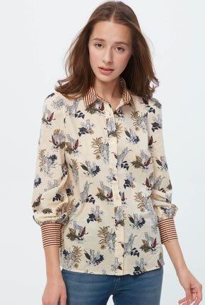 เสื้อเชิ๊ตแขนยาวลายดอกไม้ผสมลายทาง