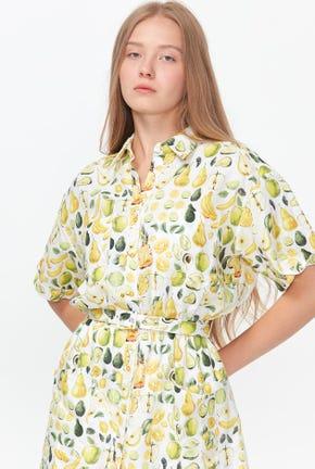 SUMMER FRUITY PRINTED DRESS WITH MATCHING BELT