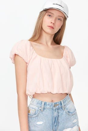 PUFF-SLEEVED CROP BLOUSE