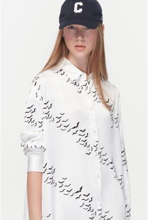 BATWING PRINTED SHIRT DRESS