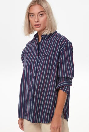 STRIPED SHIRT WITH DRAPE DETAIL