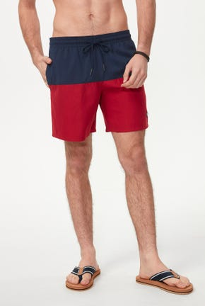 COLOR BLOCK SWIM TRUNK WITH PATCH LOGO