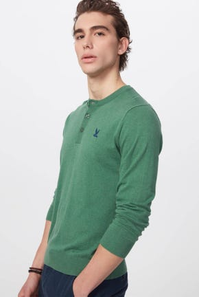 HENLEY KNIT PULLOVER