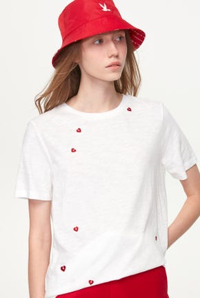 COTTON SLUB TEE WITH MINI HEART