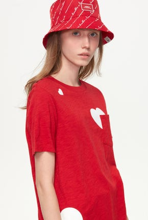 COTTON SLUB TEE WITH BIG HEART