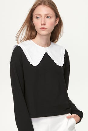 RUFFLE COLLAR CROPPED PULLOVER