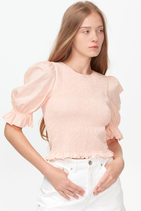 ELBOW PUFF-SLEEVED SMOCK BLOUSE