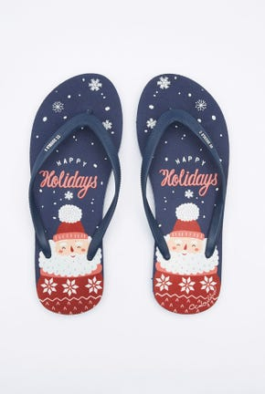 LET IT SNOW PRINTED FLIP FLOPS
