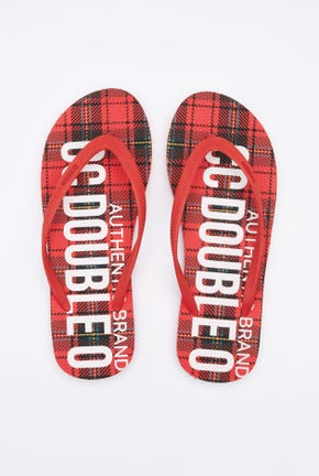 PLAID PRINTED FLIP FLOPS