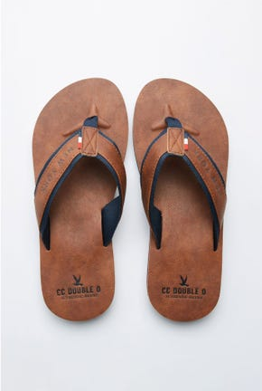 LOGO STRAP LEATHER FLIP FLOPS