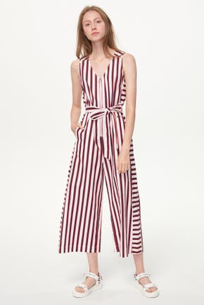 MIX STRIPED CULOTTE JUMPSUIT