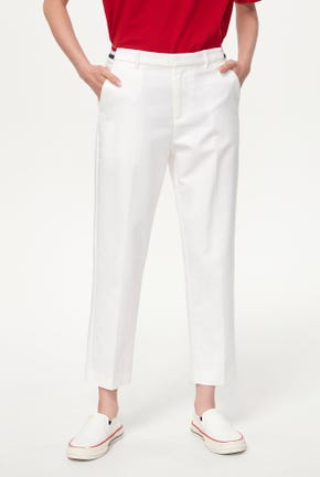 TAPERED PANTS WITH STRIPED ELASTIC WAISTBAND
