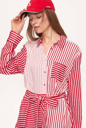 LONG-SLEEVES MIX STRIPED DRESS