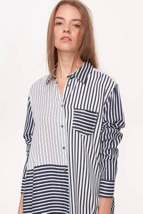 LONG-SLEEVES MIX STRIPED SHIRT