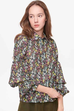 VIRAGO-SLEEVED BLACK CHIFFON BLOUSE SHIRT