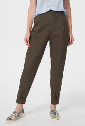 TAPERED PANTS WITH BUTTONED CUFFS