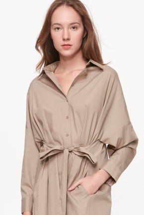 FRONT-TIE SHIRT DRESS