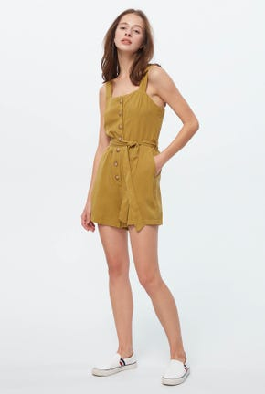 WIDE-STRAP ROMPER WITH BOW-TIE DETAIL