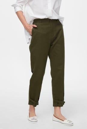 GREEN PANTS WITH DRAWSTRING HEM