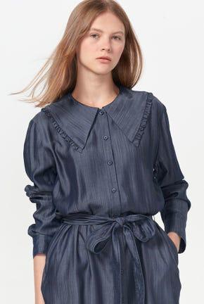 CAPE COLLAR SHIRT DRESS