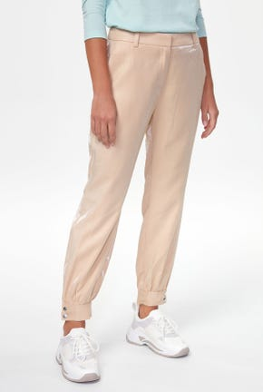 SHIMMERY BUTTONED CUFF PANTS