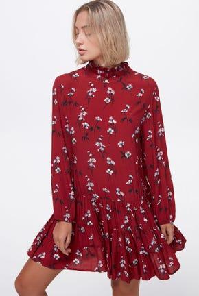 RUFFLE-COLLAR FLORAL PRINTED DRESS