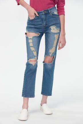กางเกงยีนส์ทรงสลิมฟอกสีอ่อน