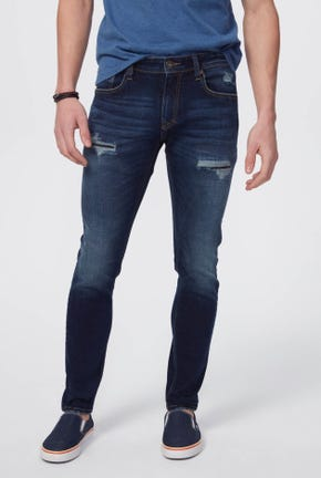 MEDIUM WASH SUPER SKINNY JEANS WITH DESTROYED AND WRINKLED DETAIL