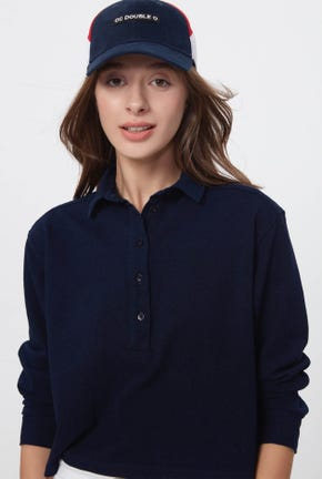 LONG-SLEEVED CROPPED POLO SHIRT