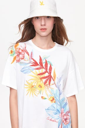TROPICAL FLOWER GRAPHIC TEE