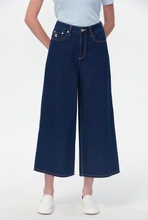 กางเกงยีนส์ขาบานฟอกสีกลาง