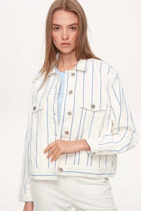 CROPPED TRUCKER PENCIL STRIPED JACKET