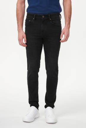 BLACK WASH SKINNY JEANS WITH EMBROIDERED LOGO