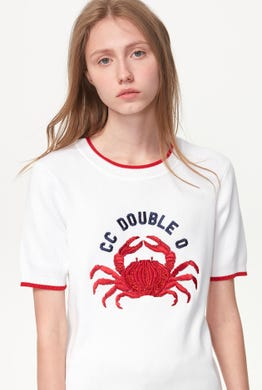 SEQUINED CRAB KNITTED TEE