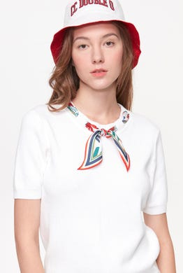 TIE-NECK KNITTED TEE