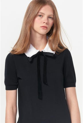 DETACHABLE BOW-TIE KNITTED TEE
